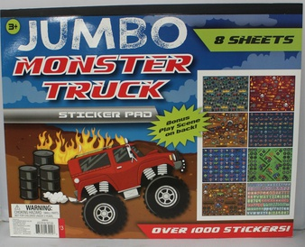 50 Pcs – Horizon Group Jumbo Monster Truck Sticker Pad – New – Retail Ready