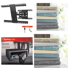Pallet – 56 Pcs – Sheets, Pillowcases & Bed Skirts, Lamps, Parts & Accessories, Safes – Customer Returns – SANUS, Hotel Style, Mainstays, SentrySafe