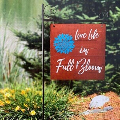 28 Pcs – Member's Mark 55″ Garden Flag with Stake, Live Life in Full Bloom – New – Retail Ready
