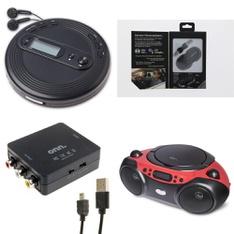 Pallet - 288 Pcs - Accessories, Receivers, CD Players, Turntables - Customer Returns - Onn, onn., GE, Monster