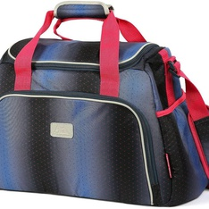 9 Pcs – Arctic zone Insulated duffel Lunch Bag (Navy Blue/Red) with six piece food container set – New – Retail Ready