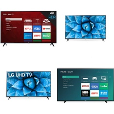 60 Pcs – LED/LCD TVs – Refurbished (GRADE A, GRADE B) – TCL, LG, Philips, onn.