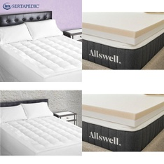 Pallet – 18 Pcs – Covers, Mattress Pads & Toppers – Customer Returns – Serta, Sertapedic, Allswell