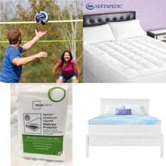 3 Pallets – 73 Pcs – Covers, Mattress Pads & Toppers, Outdoor Sports, Hardware, Bedroom – Customer Returns – EastPoint Sports, Mainstay's, Mainstays, Dream Serenity