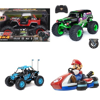 Pallet – 54 Pcs – Vehicles, Trains & RC, Dolls, Boardgames, Puzzles & Building Blocks – Customer Returns – New Bright, Adventure Force, Monster Jam, Spark Create Imagine