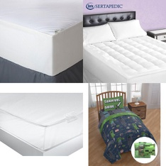 Pallet – 59 Pcs – Covers, Mattress Pads & Toppers, Bedding Sets, Comforters & Duvets – Customer Returns – Mainstay's, Aller-Ease, Beautyrest, Minecraft