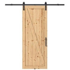 1 Pcs – Colonial Elegance KMRRC3N-37BLS-W Unfinished Knotty Pine Barn Door – New – Retail Ready
