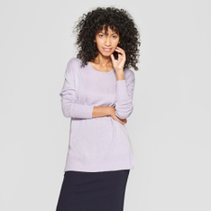 35 Pcs - A New Day Women's Crew Neck Luxe Pullover Sweater, Lavender S - New - Retail Ready