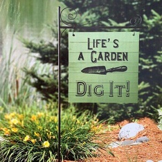 36 Pcs – Member's Mark 55″H Garden Flag with Stake, Life's a Garden Dig It! – New – Retail Ready