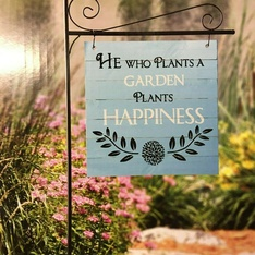 """28 Pcs – Member's Mark Garden Flag Reads """"He Who Plants A Garden Plants Happiness"""" – New – Retail Ready"""