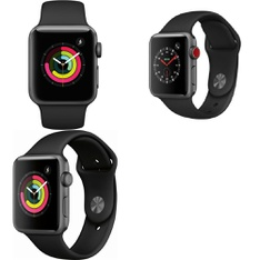 100 Pcs - Apple Watch Gen 3 Series 3 38mm Space Gray Aluminum - Black Sport Band MTF02LL/A, Apple Watch Gen 3 Series 3 42mm Space Gray Aluminum - Black Sport Band MQL12LL/A, Apple Watch Gen 3 Series 3 Cell 38mm Space Gray Aluminum - Black Sport Band MTGH2LL/A - Refurbished (GRADE A)
