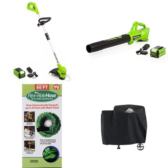Pallet – 30 Pcs – Accessories, Grills & Outdoor Cooking, Other – Customer Returns – GreenWorks, Pit Boss, Flex Able Hose, LAMPLIGHT