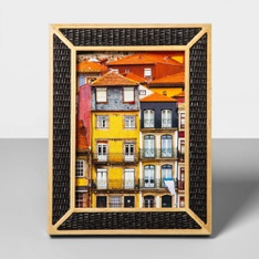 77 Pcs - Opalhouse Natural Wood Overlay Frame W/Woven Bamboo, 5