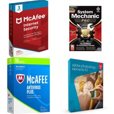 57 Pcs - Computer Software - New, Like New, Used - McAfee, IOLO Technologies, Activision, Adobe