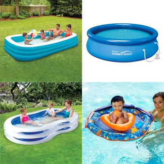 Pallet – 61 Pcs – Pools & Water Fun, Outdoor Sports, Action Figures – Customer Returns – Play Day, SwimSchool, PolyGroup, Summer Waves