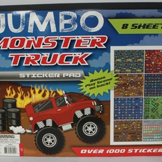 35 Pcs - Horizon Group Jumbo Monster Truck Sticker Pad - New - Retail Ready