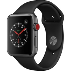 5 Pcs - Apple Watch Gen 3 Series 3 Cell 42mm Space Gray Aluminum - Black Sport Band MTGT2LL/A - Refurbished (GRADE A)
