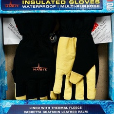 20 Pcs – Habit GSW2M Insulated Gloves Goatskin Leather Waterproof Thermal Fleece 2 Pairs – New – Retail Ready