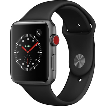 100 Pcs – Apple Watch Gen 3 Series 3 Cell 42mm Space Gray Aluminum – Black Sport Band MTGT2LL/A – Refurbished (GRADE A)