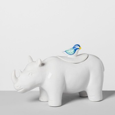 29 Pcs - Opalhouse Rhino Ceramic Cookie Jar White - New - Retail Ready