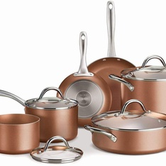 20 Pcs – Tramontina 11-Piece Metallic Copper Nonstick Cookware Set – New – Retail Ready