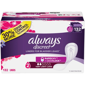 100 Pcs – Always 80330780 Discreet Plus Incontinence Liners, Very Light Absorbency, Long Length (132 Count) – New – Retail Ready