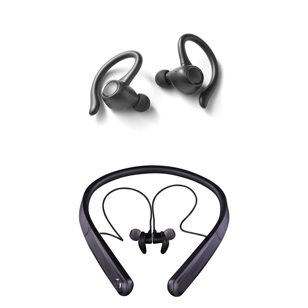 40 Pcs Blackweb Headphones Portable Speakers Refurbished Grade B Models Bwd19aah06 Wireless Bluetooth Neckband Earbuds Black