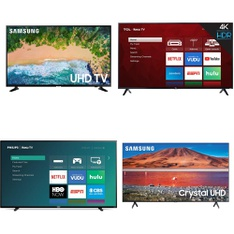 5 Pcs – LED/LCD TVs – Refurbished (GRADE C) – Samsung, TCL, Philips, Onn