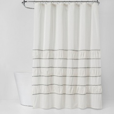 35 Pcs - Threshold Pieced Pleated Embroidered Shower Curtain Off White - New - Retail Ready