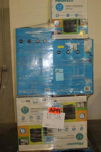 12 Pallets – 107 Pcs – Bar Refrigerators & Water Coolers – Customer Returns – HISENSE