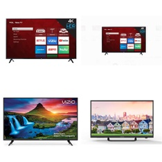 8 Pcs – LED/LCD TVs – Refurbished (GRADE A, No Stand) – TCL, VIZIO, ELEMENT