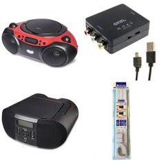 Pallet – 221 Pcs – Accessories, Boombox, Receivers, CD Players, Turntables – Customer Returns – Onn, onn., GE, One For All