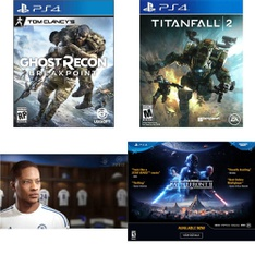 31 Pcs – Sony Video Games – New, Open Box Like New, Used, Like New – Tom Clancy's Ghost Recon Breakpoint PlayStation 4, FIFA 17 PS4, Titanfall 2 (PS4), Star Wars Battlefront II (PS4)